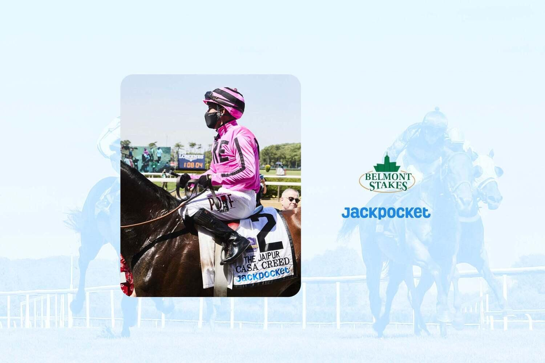 Casa Creed and jockey at Belmont Stakes 2021