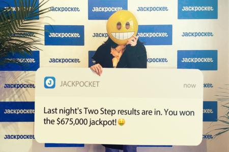 Two Step jackpot winner on Jackpocket app
